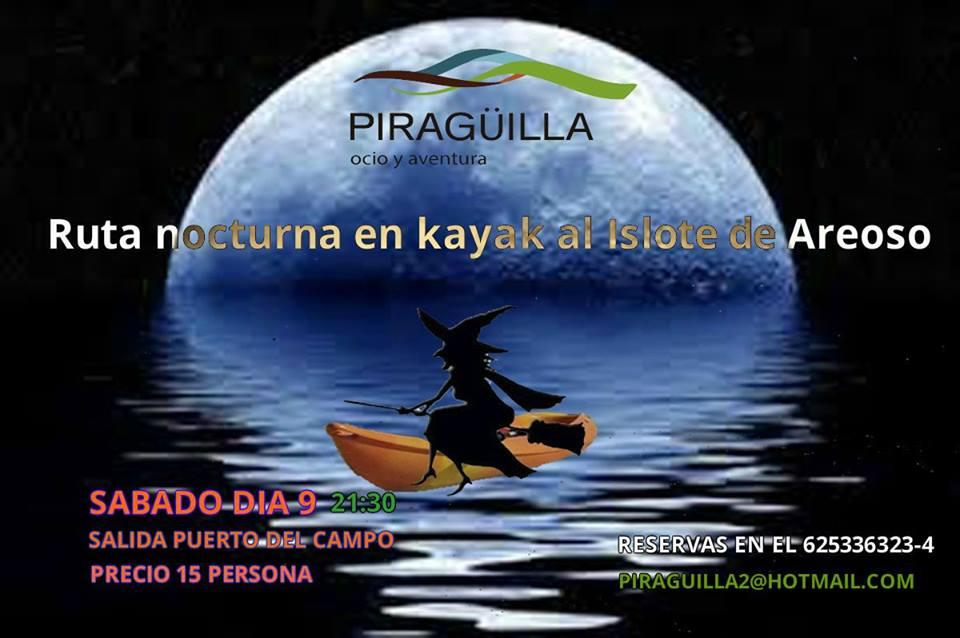 Ruta nocturna en kayak al Islote de Areoso