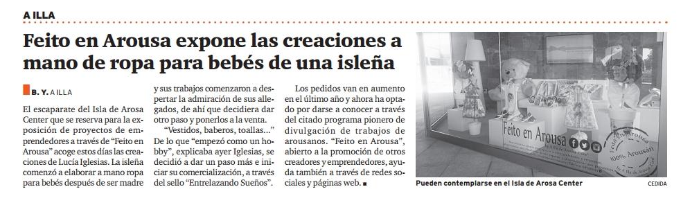 Entrelazando Sueños en Feito en Arousa - Publicación en Diario de Arousa